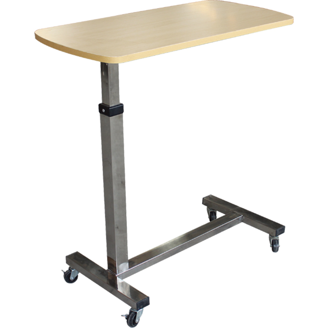 SKH041-1 Hospital Height Adjustable Overbed Table With Wheels