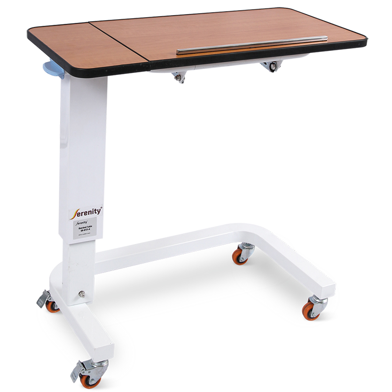 SKH201-4 Patient Dining Wooden Medical Adjustable Overbed Bedside Table With Wheels